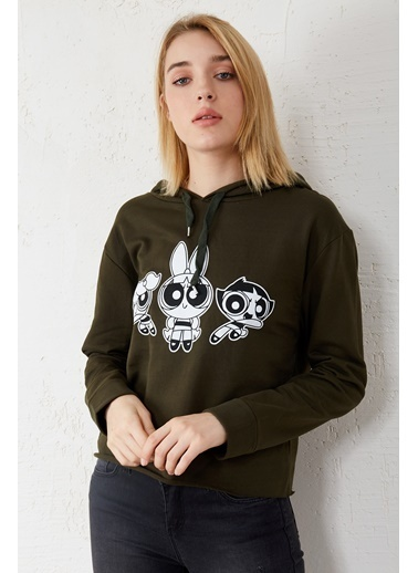 EKA Power Girl Baskılı Kapişonlu Sweatshirt Haki